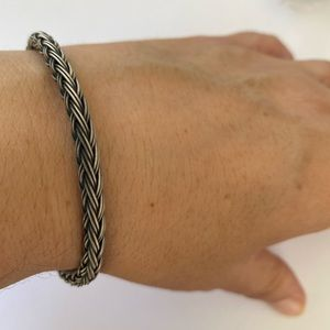 Unisex silver handmade 5mm bracelet braided wire